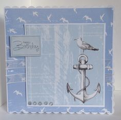 Card designed by Kay Fletcher using Harbour Boulevard paper pad Nautical Cards, Nautical Theme, Greeting Cards, Men's Cards, Craft Cards, Man Birthday, Birthday Cards, Craftwork Cards, Coral