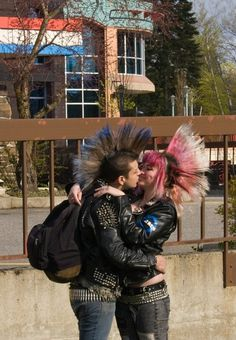 Punk Love, punk couple,  kissing, mohawks