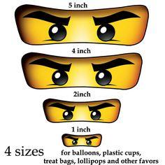 Ninjago eyes ( 4 sizes ) -for Balloon, Stickers, Lollipop, Favor bags, Cups - Ninjago birthday party - PRINTABLE. $2.50, via Etsy.