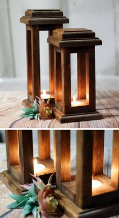 Would make a good centerpiece for Thanksgiving! Reclaimed Wood Lanterns,… – Top Of The World Wooden Projects, Woodworking Projects Diy, Wood Crafts, Rustic Thanksgiving, Rustic Lanterns, Home Lanterns, Lantern Centerpieces, Diy Lantern, Bois Diy