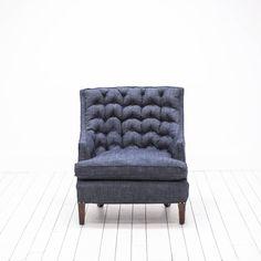 Bohemian Indigo Denim Chair | Mid-Century Modern Tufted Chair | Birch & Brass Vintage Rentals for Weddings and Special Events | Austin, TX
