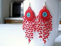 Large impressive red earrings red peacock red by Nicebead on Etsy