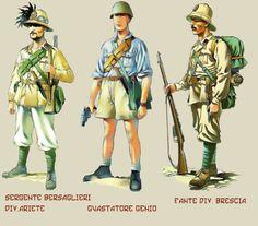 Tipi di uniformi e divisioni del Regio Esercito.