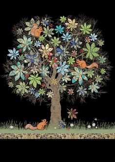 Squirrel Tree - Bug Art greeting card by Jane Crowther, Bug Art. Illustrations, Illustration Art, Art Fantaisiste, Squirrel Art, Frida Art, Art Carte, Bug Art, Chalkboard Art, Whimsical Art