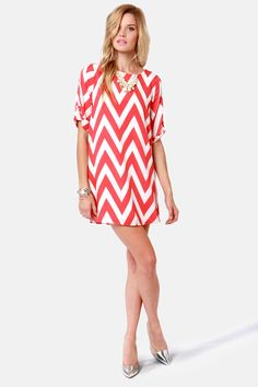 Coral Pink Chevron Print Dress- love this.  Maybe a little less sleeve and a little more on the bottom. :)