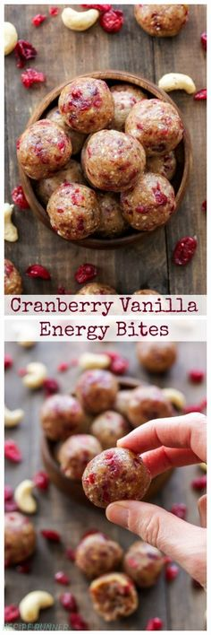 Cranberry Vanilla Energy Bites   These healthy energy bites are gluten-free, vegan, paleo and bursting with cranberry and vanilla flavors!