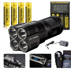 Bundle: Nitecore TM26GT 3500 Lumens 124000cd 4*CREE XP-L HI V3 LED Flashlight by 4PCs 3400mAh NL189 18650 Batteries D4 Charger Wall/Car Adapter 2Pcs EASTSHINE EB182 Battery Cases -- Be sure to check out this awesome product.