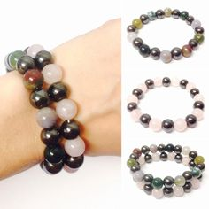 Gemstone Bracelets - Magnetic Gemstone Bracelets - Gemstone Bracelet - Men's Gemstone Bracelet - Women's Gemstone Bracelet - Beaded Bracelet by OurUniverseShop on Etsy