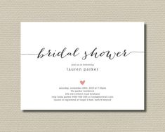 Printable Bridal Shower Invitation - Simple and Sweet love heart design, Charcoal & Pink (BR109)