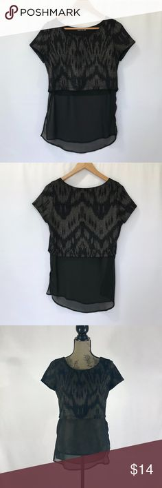 "Double Zero Short Sleeve Crop Top & Sheer Underlay Brand: Double Zero Color: Black/Metallic Condition: In excellent pre-owned condition. No rips, tears or stains. Size Type: Regular Size (Women's): Small MSRP: $39.90  Length (shoulder to hem): 28"" Chest (armpit to armpit): 18.5"" Double Zero Tops Blouses"