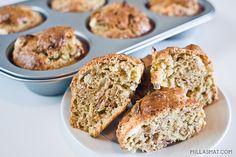 Grove muffins med purre og skinke