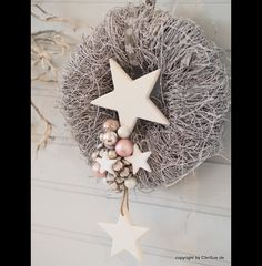 Items similar to door wreath on etsy Door wreath pink white. A natural, white brushwood wreath has been lovingly decorated with two simple wooden stars (shabby), wh. Christmas Door Wreaths, Holiday Wreaths, Christmas Ornaments, Holiday Decor, Advent Wreath, Diy Wreath, All Things Christmas, Christmas Time, White Christmas