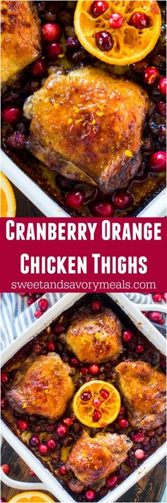 Cranberry Orange Chicken is the perfect, one pan, seasonal meal made with juicy, tart cranberries and fresh orange juice and zest. #onepan #chicken #orange