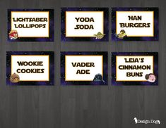 Star Wars Angry Birds Tented Cards/Food Labels