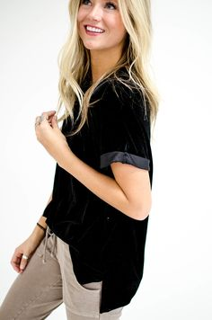 Velvet Top with Cuffed Sleeves | ROOLEE