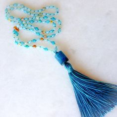 Aqua agate tassel necklace