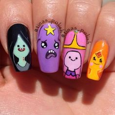 nice Nerdy Nail Designs: 30 Awesome Manis for Geek Goddesses. Cartoon Nail Designs, Nail Art Designs, Nails Design, Super Cute Nails, Pretty Nails, Adventure Time Nails, Anime Nails, Nails For Kids, Happy Nails