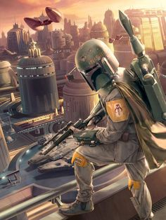 Excellent painting of Boba Fett watching the arrival of Han Solo on the Cloudy City of Bespin.