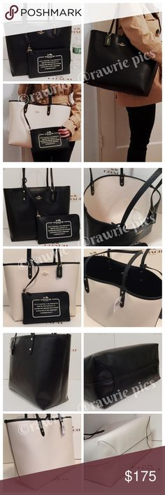 "New Coach Reversible large travel tote with pouch 100% authentic. Reversible : black on one side and white on the other side. Both sides are pvc with matching trim. Detachable travel zip pouch included. Handles drop 10"". Measures 18""top/12.5""bottom x 11.5"" (H) x 6"" (W). Brand new with tags. Comes from a pet and smoke free home. Coach Bags Totes"