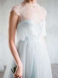 Divine blue corset wedding gown Aley by Milamira Bridal // colored wedding dress with separate chantilly lace jacket, corset bodice with cups and straps and long tulle skirt with train Corset Wedding Gowns, Blue Wedding Gowns, Boho Wedding Gown, New Wedding Dresses, Bridal Dresses, Madame C, Lace Jacket, Corsage, Vintage Dresses