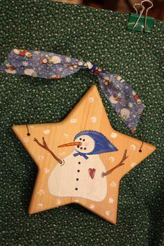 Star Ornament Snowman Ornament Fat Snowman by BrownBeaverBeadery