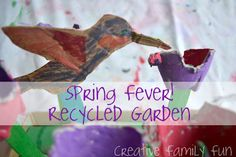 My daughter & I challenged ourselves to make a spring garden from items out of our recycle bin. It was such a fun challenge! Have you ever given your kids a creative challenge?