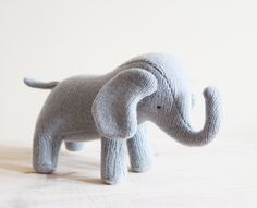 light blue grey wool one of a kind elephant plus