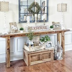 Rustic farmhouse entry table farmhouse style console table rustic narrow table hallway table ideas country home decor stores near me Country Decor, Rustic Decor, Farmhouse Decor, Farmhouse Style, Rustic Style, Modern Farmhouse, Farmhouse Ideas, Farmhouse Front, Antique Farmhouse