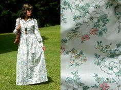 1970s Vintage White Floral Button Up Maxi Dress by Enchantedfuture