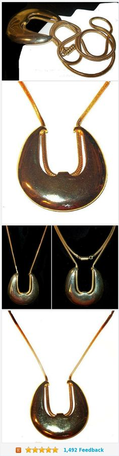 "Castlecliff Necklace Signed Gold Pendant & Rope Chain Barrel Clasp HUGE 30"" Vintage https://www.etsy.com/BrightgemsTreasures/listing/582323521/castlecliff-necklace-signed-gold-pendant?ref=shop_home_active_14"