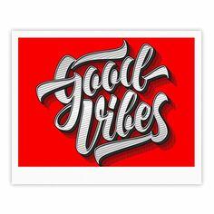 "Roberlan ""Good Vibes 2016 "" Red Typography Fine Art Gallery Print"