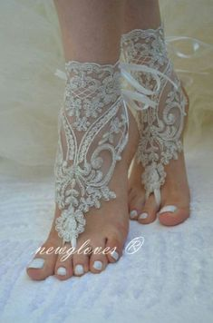 Stunning footless beach bridal anklets in ivory lace