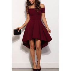 Dark Red Off Shoulder Sexy High Low Party Dress ($21) ❤ liked on Polyvore featuring dresses, short sleeve cocktail dresses, sexy purple dresses, purple dress, off the shoulder dress and sexy dresses