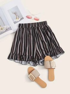 ((Affiliate Link)) Description Style:	Boho Color:	Multicolor Pattern Type:	Striped Details:	Ruffle Hem Type:	Wide Leg Season:	Summer Composition:	100% Polyester Material:	Polyester Fabric:	Non-stretch Sheer:	No Fit Type:	Loose Waist Type:	High Waist Closure Type:	Elastic Waist