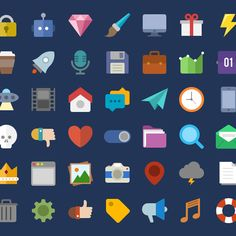 47 Colorful Flat Web Icons Pack PSD - http://www.dawnbrushes.com/47-colorful-flat-web-icons-pack-psd-2/