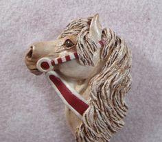 2015/03/09 OOAK Carousel horse art pin Peppermint by twistedcreatures - $58.15 CDN