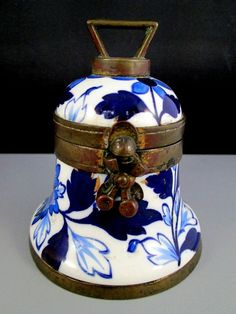 Taylor Tunnicliffe Staffordshire China Bell Shaped Inkwell - 1883