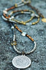 Long Bohemian Style Mixed Metals, Glass and Crystal Medallion Necklace | XO Gallery