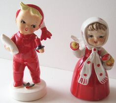 Vintage Napco Christmas Boy with Pillow & Ucagco Girl Angel with Apples