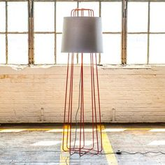 Perimeter Light Orange now featured on Fab. Blu Dot's Perimeter Light transform negative space to an alluring and modern column lamp. Made from orange powder-coated steel and topped with an oversized shade made from gray fabric, with a subtle, easy-to-use floor on/off switch  $239