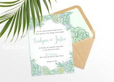 Boho Wedding Invitations Succulent Wedding by BlushedDesign