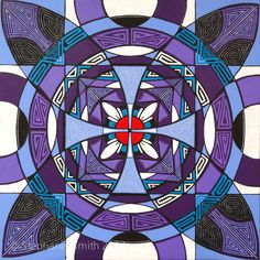 """Metamorphosis"" is an original painting by self-taught visionary artist Stephanie Smith. Mandala art, meditational art, improvisational art, mystical art, psychedelic art, geometric abstraction, modernism, modern art, art nouveau, sacred art, Mayan, Etruscan, Reiki, healing, purple, yoga, spirituality, personal growth, transformation, illusion, op-art, vibration, energy, jazz. Visit Stephanie on the web at biffybeans.com or on Facebook: Stephanie Smith's Mandala Art"