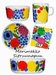Primavera!Marimekko Lemon tree Design Textile, Textile Patterns, Print Patterns, Floral Patterns, Marimekko, Nordic Design, Scandinavian Design, Vintage Jars, African Textiles