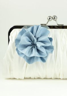Ivory Bridal Clutch / Bridal Wedding Purse / Blue