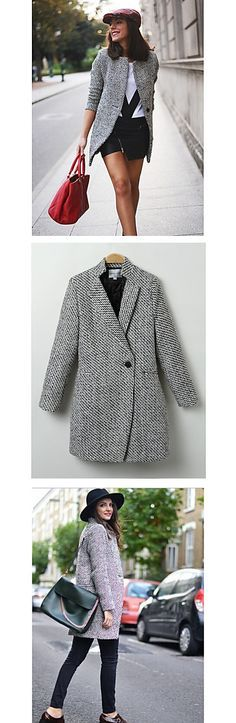 You don't need a lot to look good, just some basics like a good casual coat. Check out this fancy petite plaid one buttoned women coat in black and white. Only $16.99