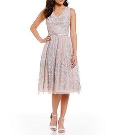 Jessica Howard V-Neck Metallic Embroidered Midi Dress