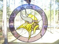 Custom Made Minnesota Vikings Sports Stained Glass Panel -- Different team logos in the center, I love the way it's layed out.