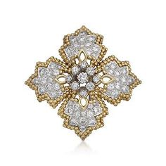 Circa 1960 Vintage Tiffany Jewelry 4.50 ct. t.w. Diamond Star Motif Pin Pendant in 18kt Yellow Gold | The House of Beccaria