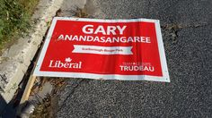 Kingston Rd/401  One of the many signs found knocked over in the Highland Creek area.  Do the Liberals in the area actually care about how they're representing themselves?  Someone from their campaign should be working to fix this problem.  It's damaging to your brand if you allow people to view your party broken and on the street.  #SMH, #TheHuntForRedOctober #elxn42