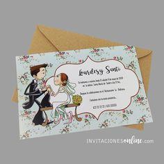 Invitación de Boda con personajes, sobre kraft #invitacionesdeboda  #invitacionesonline #bodas #casament #wedding #noscasamos #papelypapel